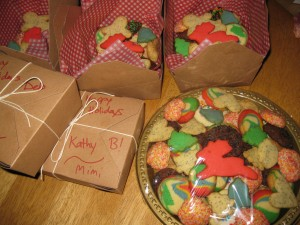 and cookie boxes filled then tied.
