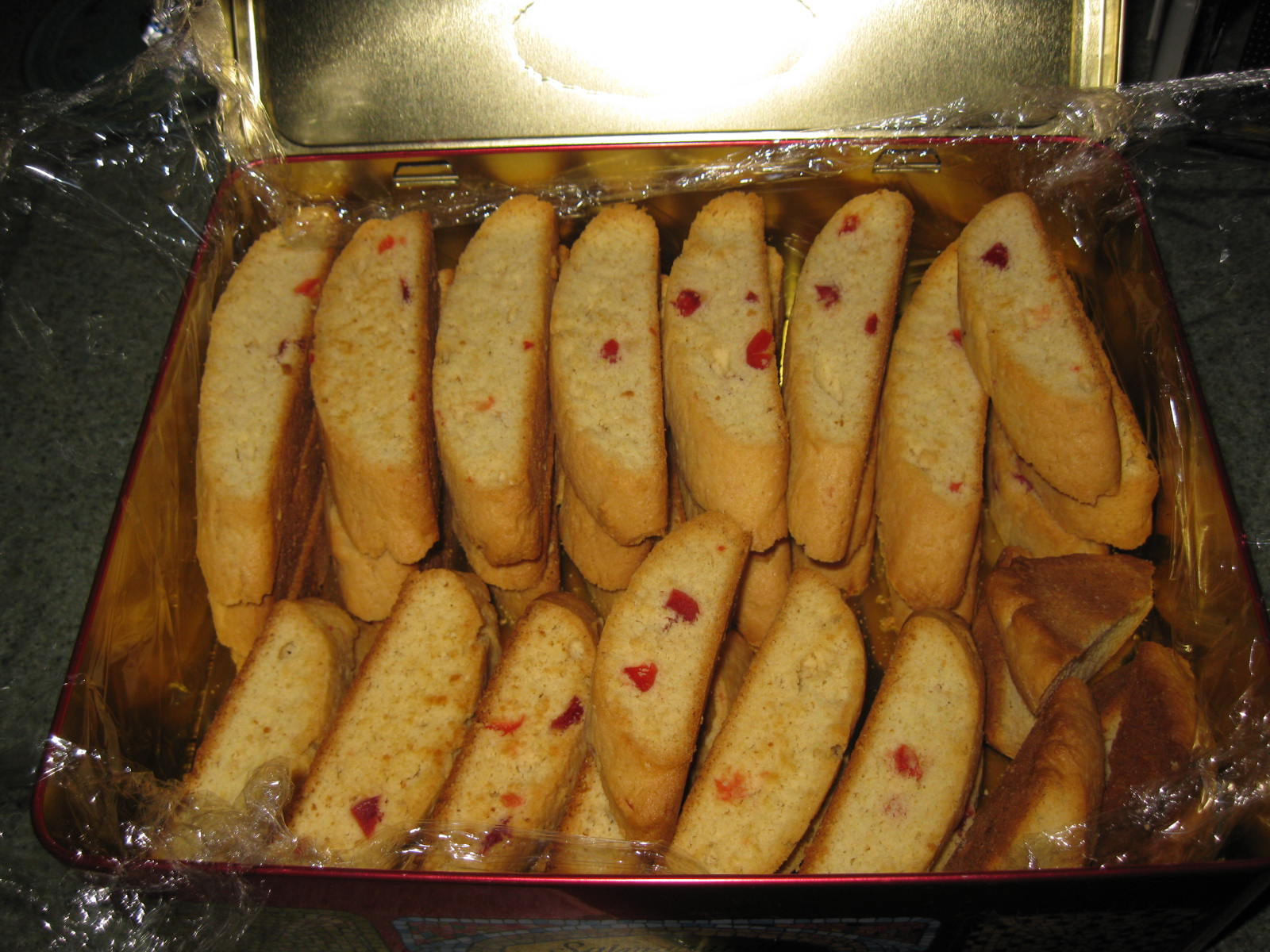 Above, Cherry Almond Biscotti